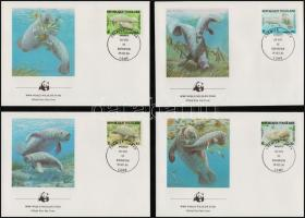 West Indian manatee set on 4 FDC, Lamantin sor 4 db FDC-n