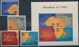 1961 ENSZ Gazdasági Bizottsága Afrikáért sor Mi 325-328 A + vágott blokk Mi 6