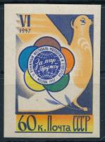 1957 Ifjúsági és diákfesztivál vágott bélyeg Mi 1922 B