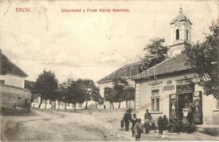 Ercsi, utcakép, Frank Károly üzlete, templom (EB)