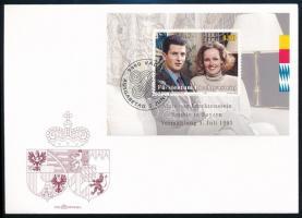 Prince Alois and Princess Sophie's wedding block on FDC Alois herceg és Sophie hercegnő esküvője blokk  FDC-n