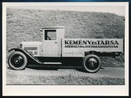 cca 1920-1930 Budapest, A Kemény és Társa Szerszám és Szerszámgépgyárának teherautója, későbbi előhívás, 9x12 cm