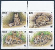WWF: Sand fox set in margin block of four, WWF: Homoki róka sor ívszéli négyestömbben