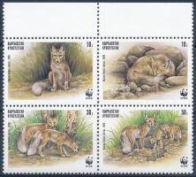 WWF Sand fox margin set block of 4, Homoki róka sor ívszéli négyestömbben