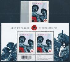 Victims of war memorial self-adhesive margin set Háborús áldozatok emlékére öntapadós ívszéli bélyeg  + blokk