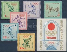 Summer Olympics: Tokyo set + imperforate block, Nyári Olimpia: Tokió sor + vágott blokk