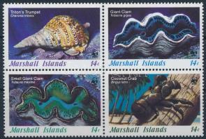 WWF: Sea snails and shellfish block of 4, WWF: Tengeri kagylók négyestömb