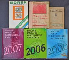 7 db magyar bélyegkatalógus: 1947, 1948, 1952, 2000, 2006, 2007 és Borek 1977-1978
