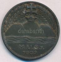1907. M.U.Sz. (Magyar Úszó Szövetség) fém emlékérem (39mm) T:2,2- patina