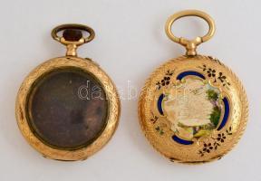 2 db régi, díszített 14 K-os arany női zsebóratok, egyik üveggel / 2 old gold pocket watch cases bruttó: 16,8 g