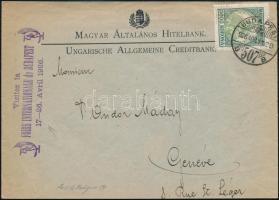 1926 Céges levél Koronás Madonna 5.000K perfin bélyeggel bérmentesítve BUDAPEST - Genf