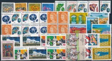 1970-1977 55 stamps, 1970-1977 55 db bélyeg, közte sorok, négyestömbök