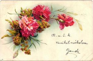 1899 Flowers. Floral greeting art postcard, litho (EK)
