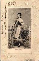 1902 Blaha Sárika. Art Nouveau, Emb. floral frame (EK)
