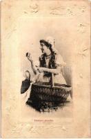 1901 Hettyey Aranka. Art Nouveau, Emb. floral frame (EK)