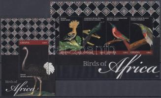 African birds minisheet + block, Afrikai madarak kisív + blokk