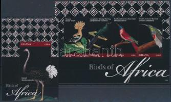Afrikai madarak kisív + blokk, African birds minisheet + block