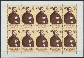 Martin Luther  minisheet Martin Luther születésének 500. évfordulója kisív