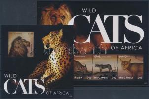 Wild cats of Africa minisheet + block, Afrikai vadmacskák kisív  + blokk