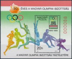 Hungarian Olympic Committee block present of the post, 90 éves a Magyar Olimpiai Bizottság ajándék blokk