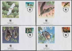 WWF Bats set 4 FDC, WWF Denevérek sor 4 FDC-n