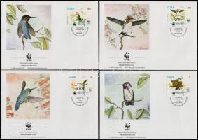 WWF Birds set + set on 4 FDCs, WWF Madarak sor + sor 4 FDC-n