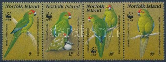 WWF: Parrot stripe of 4, WWF: Papagájok négyescsík