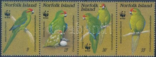WWF: Parrots stripe of 4, WWF: Papagájok négyescsík