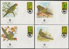 WWF: Parrots set on 4 FDC, WWF: Papagájok sor 4 FDC-n