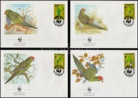 WWF  Red-crowned parakeet  on 4 FDC-s, WWF Papagájok sor 4 FDC-n