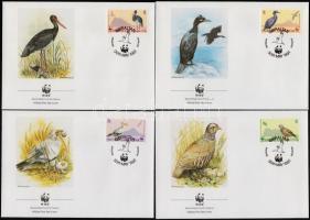 WWF Madarak sor (2 pár) + sor 4 FDC-n, WWF Birds set + set on 4 FDC-s
