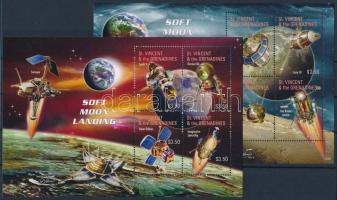 Space research, Moon probes 2 minisheet, Űrkutatás, Holdszondák 2 kisív