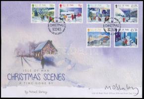 Christmas set on FDC signed artist, Karácsony sor FDC a tervező aláírásával