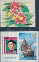 1991-1992 2 diff Stamp exhibition blocks, 1991-1992 2 klf Bélyegkiállítás blokk