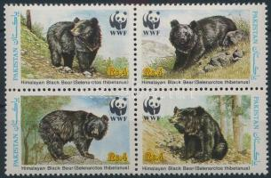 WWF Asian black bear set block of 4, WWF: Örvös medve sor 4-es tömbben