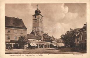 Nagyszeben, Hermannstadt, Sibiu; Grosser Ring / utcakép, üzletek. Emil Fischer, Jos. Drotleff / street view, shops (ázott / wet damage)