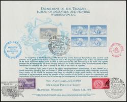 """Memorial print with memorial stamp and UPU set from 1949 on it, 100 éves az UPU emléklap """"MILCOPEX '74"""" emlékbélyegzéssel 1949  75 éves az UPU sorral"""