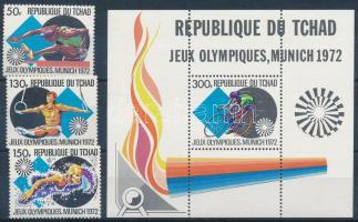 1972 Nyári olimpia sor Mi 550-552 + blokk Mi 44