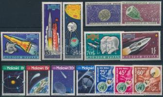 Űrkutatás motívum 5 db sor + 1 blokk + 5 db önálló érték, Space research 5 sets + 1 block + 5 stamps