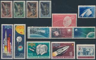 Space research 2 sets + 7 stamps, Űrkutatás motívum 2 db sor + 7 db önálló érték