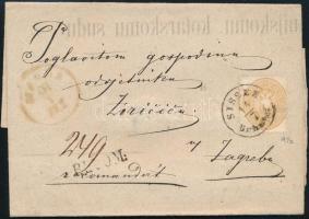 """~ 1865 15kr on registered cover """"SISSEK Bahnhof"""" - """"AGRAM"""", ~ 1865 15kr ajánlott levélen """"SISSEK Bahnhof"""" - """"AGRAM"""" kétszer felhasznált borító"""