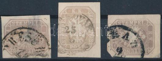 3 newspaper stamps, 3 db Hírlapbélyeg
