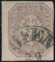 """Brown-Purple newspaper stamp """"OFEN"""" Signed: Strakosch, Barnáslila hírlapbélyeg """"OFEN"""" Meghatározás és szignó:  Strakosch"""