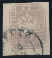 """Brown-Purple newspaper stamp """"(K)REUTZ"""" Signed: Strakosch, Barnáslila hírlapbélyeg """"(K)REUTZ"""" Meghatározás és szignó:  Strakosch"""