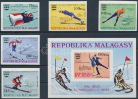 1975 Téli olimpia: Innsbruck vágott sor Mi 767-771 + vágott blokk Mi 9