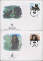 WWF: Sun bear set + 4 pcs on FDCs, WWF: Maláj medve sor + 4 db FDC-n