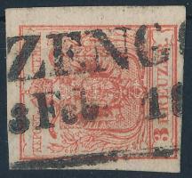 1850 3kr HP IIIa kárminpiros vastag papír ZENG(G) Certificate: Steiner