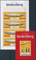 75th anniversary of the Hindenburg airship disaster minisheet + block, A Hindenburg léghajó katasztrófájának 75. évfordulója kisív + blokk