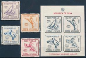 1960 Nyári olimpia: Róma sor Mi 669-672 + vágott blokk Mi 18