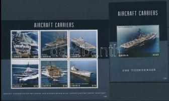 Aircraft carrier ships mini sheet + block, Repülőgép szállító anyahajók kisív + blokk